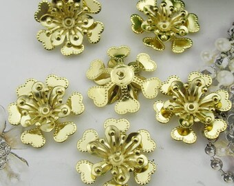 10pcs (22mm ) Raw Brass Flower Filigree Charms,(RB-04)