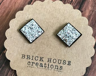 Bright Silver Square Druzy Earrings