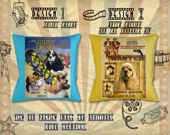 American Cocker Spaniel Pillow/Cocker Spaniel Portrait/Cocker Spaniel Art/Custom Dog Portrait/Movie Poster/Julius Caesar/Butch Cassidy