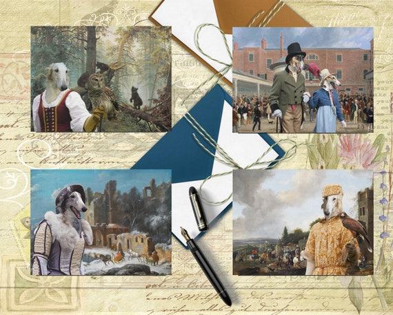 Borzoi Art, Russian Wolfhound, Borzoi Postcard Set, Borzoi Greeting Card Set, Borzoi Sticker, Borzoi Decal, Borzoi Portrait, Borzoi Print