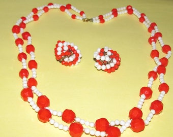 Vintage Red and White Beaded Two-Strand Necklace and Earrings
