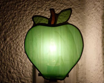 Green Apple Night Light, Stained Glass, Wall Plug In, On Off Switch, Lead Free Solder, Handmade, Kitchen, Bedroom, Food