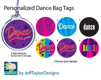 Girls Dance Bag Tag - Personalized - 2 Size Choices - 6 Design Choices
