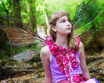 Pink Fairy Costume- Fairy Accessories- Fairy Neck Piece- Fairy Necklace- Flower Petal Skirt- Statement Necklace- Fabric Necklace- LARP