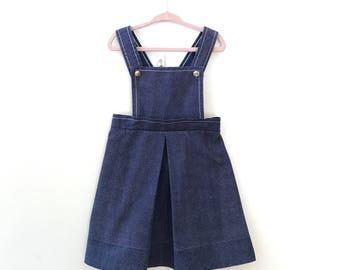 60s little girls vintage Denim Jumper Overall Skirt 5/6
