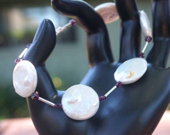 White Freshwater Coin Pearls with Garnet and Sterling Silver