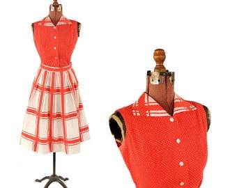 Vintage 1950's Red + White Polka Dot Crisp Cotton Rockabilly Full Skirt Rockabilly Dress Set S
