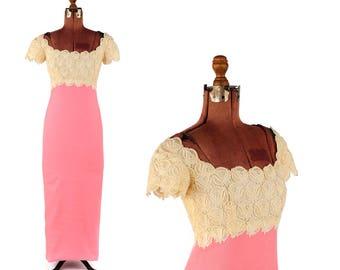 Vintage 1960's Bill Blass for Maurice Rentner Pink + Cream Lace Empire Waist Cocktail Dress S