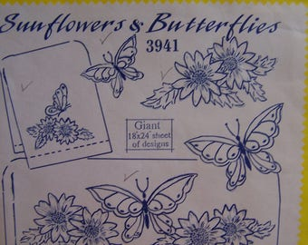 "Vintage Aunt Martha ""Sunflowers & Butterflies"" #3941 Hot Iron Transfers for  Embroidery, Pillowcases"