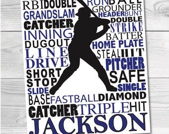 Baseball Subway Art - Custom DIGITAL DOWNLOAD - Baseball Artwork - Sports Artwork - Baseball Team - Sports Team Art - 8x10 Sports Art