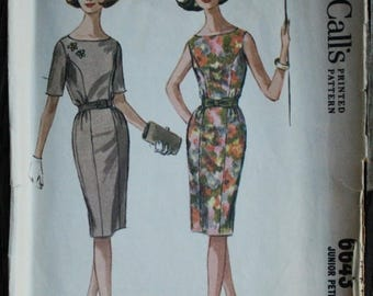 25%off Sizzlin Summer Sal McCall 6643 1960s 60s Mod Wiggle Dress Vintage Sewing Pattern Size 15 Bust 33
