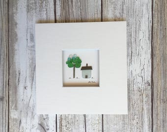 Original Pebble and sea glass Art 5 by 5 Mini unframed Pebble Picture by Sharon Nowlan, Shabby chic decor