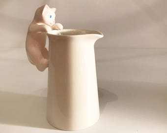 Vintage White Creamer Pitcher with Cat Handle, Creamer with Kitty Cat Handle, Creamer with Cat Climbing Up Side of Creamer