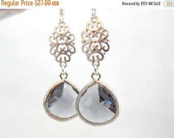 SALE Gray Earrings, Glass Earrings, Grey Earrings, Silver Earrings, Charcoal, Oriental, Wedding Jewelry, Bridesmaid Earrings, Bridesmaid Gif