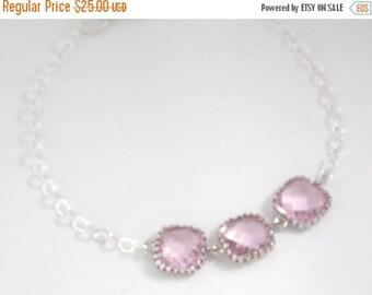 SALE Glass Bracelet, Pink Bracelet, Sterling Silver Bracelet, Light Pink, Soft Pink, Wedding Jewelry, Bridesmaids Bracelet, Bridesmaid Gifts