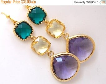 SALE Emerald Green Earrings, Yellow Earrings, Purple Earrings, Gold Earrings, Bridesmaid Jewelry, Bridesmaid Earrings, Bridesmaid Gifts