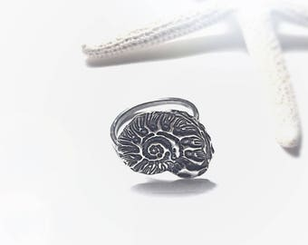 Silver Ring Beach Jewelry, Nautilus Seashell Boho Jewelry, Sterling Silver Right Hand Ring, Ocean Jewelry Silver Ring, Layer Ring