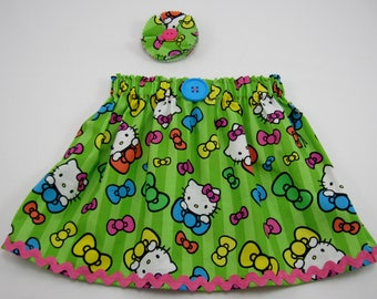 Girl's Skirt made with Licensed Hello Kitty Fabric - Hello Kitty Birthday Dress - Hello Kitty Birthday Party-Matching Fabric Hair Clip Avail