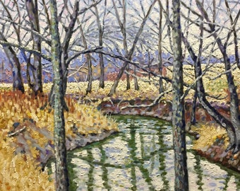 "Original Impressionist Oil Landscape Painting 16x20 ""Stream, Behind Bars"""