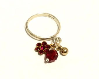 Sterling Silver Charm Dangle Ring - Ruby Red