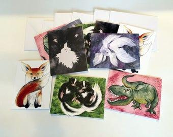 Critter Note Cards - Set of ten