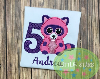 Beanie Boo Raccoon Birthday Shirt- Embroidered and Personalized Shirt - You choose number