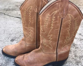 Tan caramel 80s womens cowboy boots size US8
