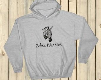 I Am a Zebra Warrior Rare Disease Ehlers Danlos EDS Hoodie Sweatshirt - Choose Color