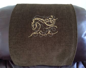 Recliner Cover, Chair Headrest, Furniture Protector, Horse Outline, Upholstery, Embroidered Design, Brownie Br, 14x30, Gold Thread