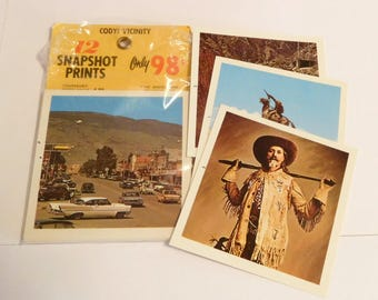 Buffalo Bill Cody, Shoshone National Forest, Wyoming Souvenir - 12 SNAPSHOT PRINTS COMPLETE Kolor Pak Plastichrome - Vintage 1960's Photos