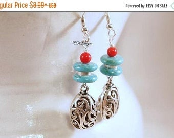 CIJ Southwestern Style Earrings, Howlite Turquoise Beads, Turquoise and Coral Earrings, Dangle Beaded Pierced or Clip-on Earrings.  CKDesign