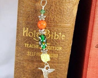 CIJ Hummingbird Beaded Bookmark,  Charm Metal Bookmark. Unique Beaded Bookmark, Gift for a Reader, Gift Under 10, OOAK Handmade Bookmark.