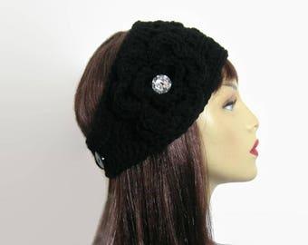 Black Crochet Headband with flower Black earwarmer crochet ear warmer crochet headband Black knit Headband Black Hair wrap crochet head band