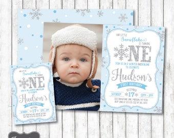 Winter ONEderland Invitation Boy, Blue and Silver First Birthday Invitation, Winter Birthday Invitation, Printable PDF File