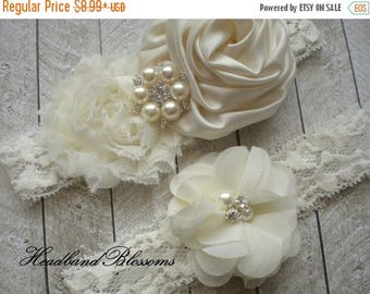 SALE Beautiful IVORY Bridal Garter Set - Ivory Keepsake & Toss Wedding Garter - Chiffon Flower Rhinestone Lace Garters - Vintage Garter