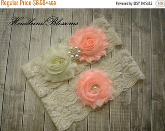 SALE PEACH Bridal Garter Set - Ivory Keepsake & Toss Wedding Garters - Chiffon Flowers Rhinestone Garters - Ivory Lace Garter - Garder
