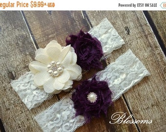 SALE EGGPLANT IVORY Bridal Garter Set - Keepsake & Toss Garters - Burlap Chiffon Flower Pearl Lace Garters - Purple - Rustic Country Wedding