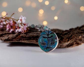 Libra Astrology necklace-wood jewelry-Libra zodiac-moon child gift-moon child necklace