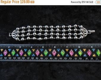 On Sale Vintage Silver 4 Strands Bracelet 1950s 60s 70s Mad Men Mod Old Hollywood Glam