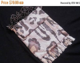 Now On Sale Leopard Vintage Whiting & Davis Signed Metal Mesh Clutch Purse - High End Collectible - Cross Body Bag - Animal Print Handbag