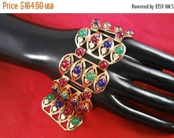 Now On Sale Vintage Red Green Blue Gold Rhinestone Chunky Wide Bracelet - Retro 1950's 1960's- High End Hard To Find Jewelry