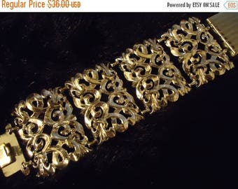 ON SALE Vintage Bracelet Chunky Wide 1950's 1960's Old Hollywood Glam Regency Mad Men Mod Collectible Costume Jewelry