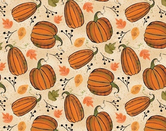 15% off thru Mar.19th AUTUMN ROAD tossed orange pumpkins leaves on cream cotton print by the 1/2 yard Wilmington fabric-54533-287