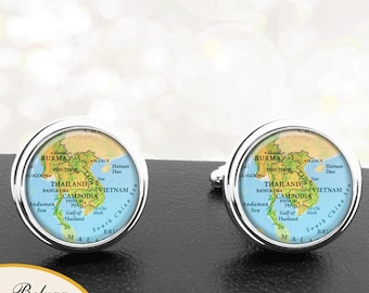 Map Cufflinks Country of Thailand Vietnam and Cambodia Cuff Links for Groomsmen Groom Fiance Anniversary Wedding Party Fathers Dads Men