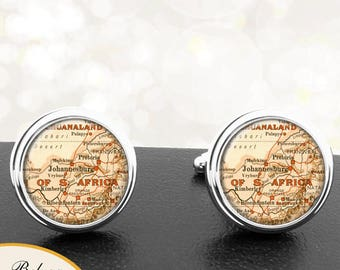 Antique Map Cufflinks Johannesburg South Africa Cuff Links for Groomsmen Groom Fiance Anniversary Wedding Fathers Dads Men