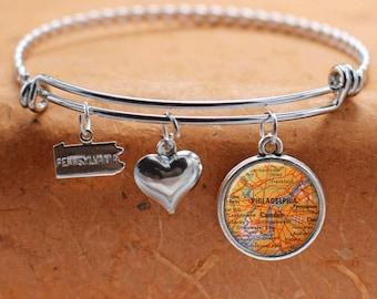Philadelphia PA Camden NJ Map Charm Bracelet State of Pennsylvania Bangle Cuff Bracelet Map Jewelry Stainless Steel Bracelet