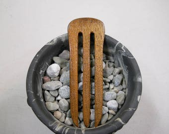 3 prong Claro Walnut wood hair fork