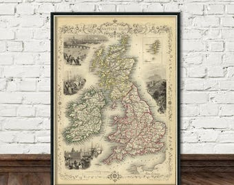 British Isles map -  Old map of British Isles - Old map fine print - Archival  giclee print