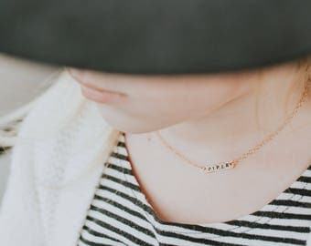 Tiny Bar Necklace | Childs Necklace | Women's Necklace | Hand Stamped Name