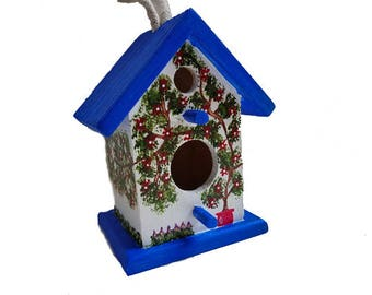 Blue Birdhouse - Decorative outdoor birdhouse, garden birdhouse, garden decor, iris, apple tree swing, red flowerpot, blue & white birdhouse